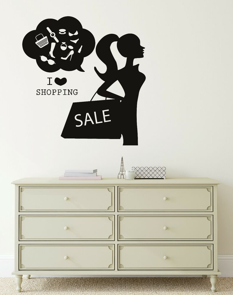 Wall decal i love shopping fashion women clothing store vinyl stickers ig2720 ebay - Wall decor stickers online shopping ...