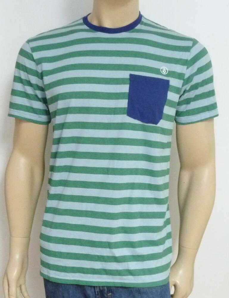 Volcom stone submission pocket tee mens green blue striped for Green mens t shirt