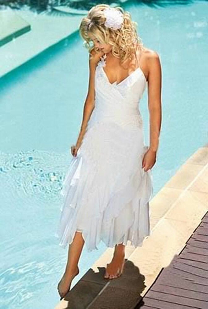 White ivory short beach wedding dress bridal gown custom for Short ivory wedding dress