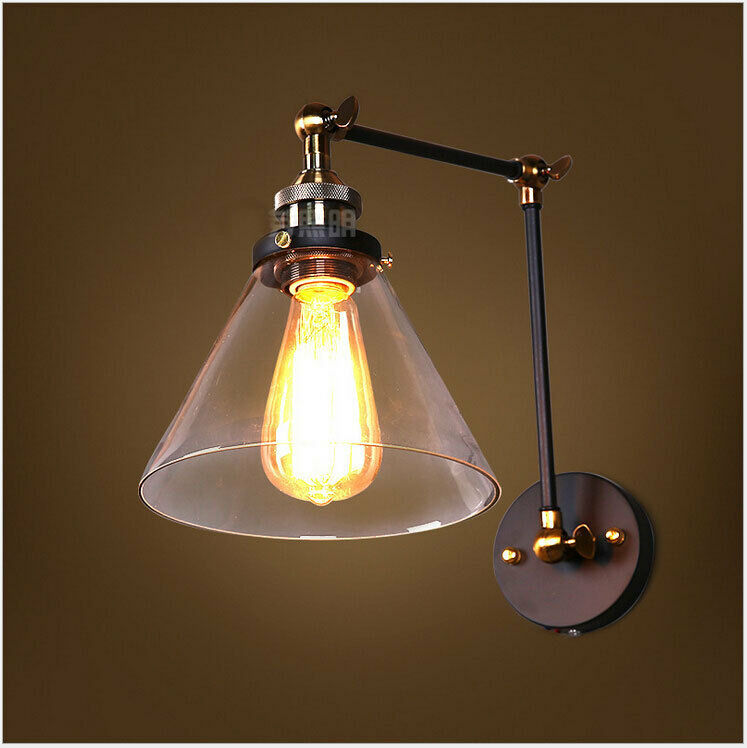 Wall Lamp Bar : Vintage Wall Light Bar light Glass Lampshade Adjustable Swing Arm Wall lamp 0175 eBay