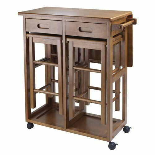 Small Kitchen Island Table Brown Wood Rolling Lock Compact