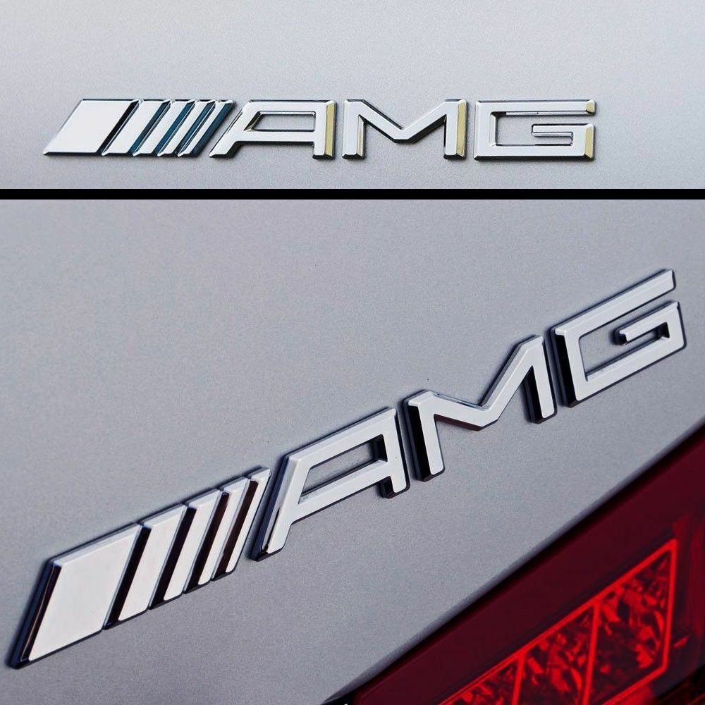 New amg trunk emblem badge chrome c e s cl sl ml clk cls for Mercedes benz trunk emblem