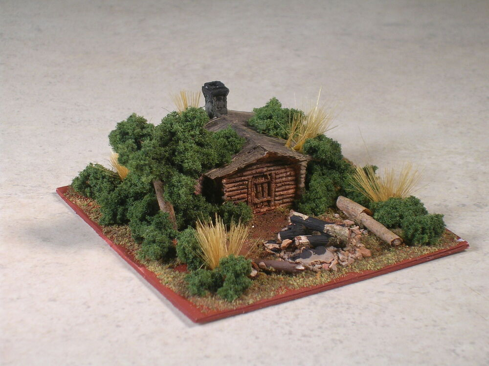 N Scale Wilderness Log Cabin Diorama With Camp Fire Part
