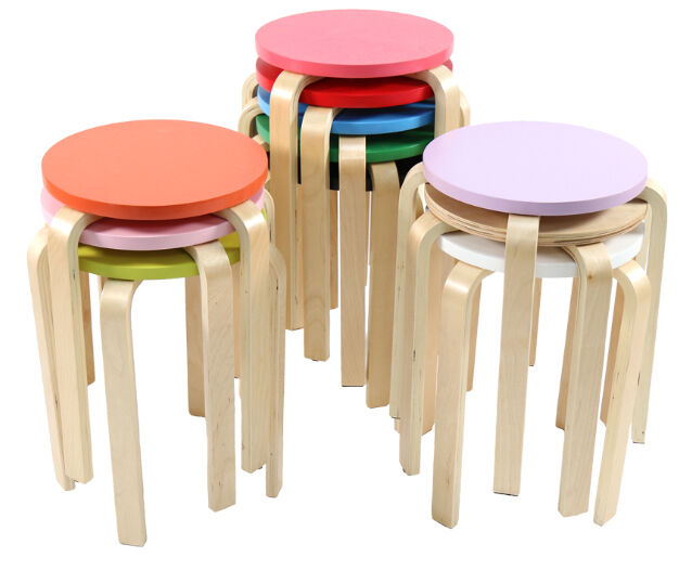 Round Wood Stool Chair Kitchen Bar Wooden Chair Diy Ebay