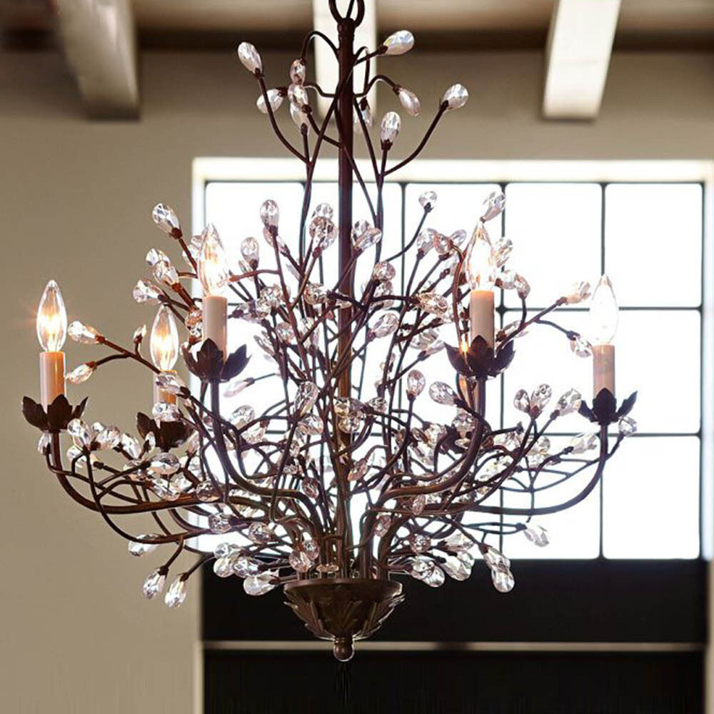 fixtures retro branches crystal chandelier 6 light pendant lamp