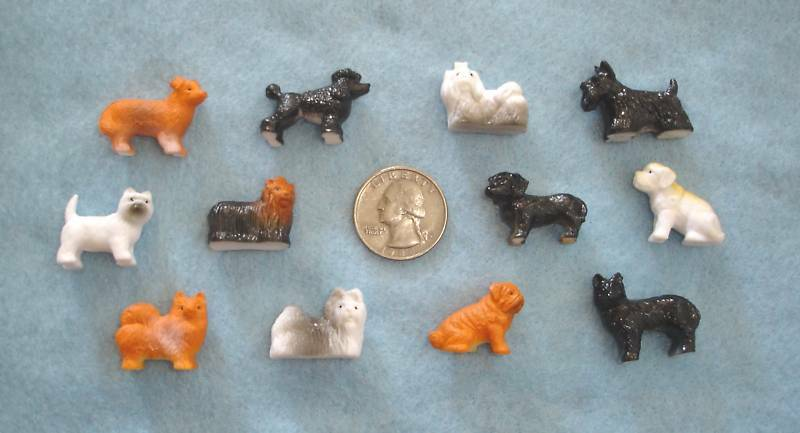 Fake Toy Dogs : Set of miniature tiny plastic like toy or craft puppy