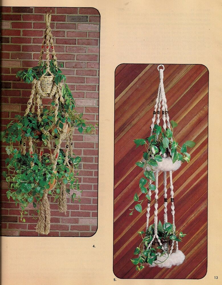 macrame plant hanger pattern free mutiple tier plant herb hanger pattern craft book 4278
