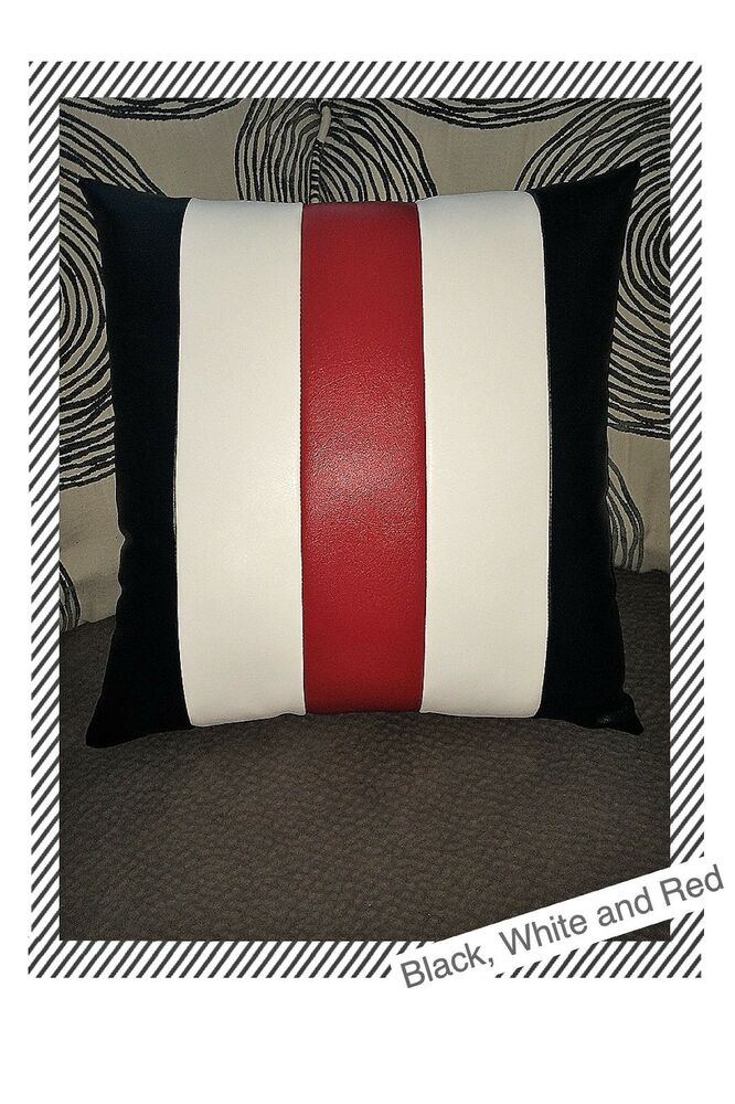 sofa black white red stripes leather decorative case cushion pillow