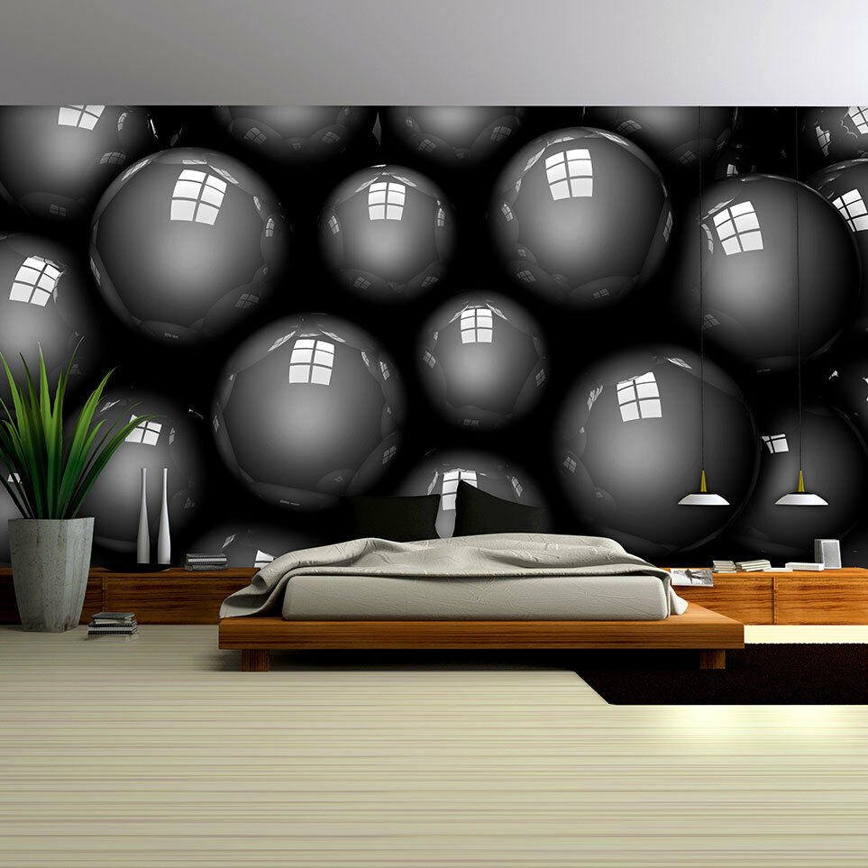 fototapete tapete tapeten fototapeten bild abstrakt kugeln schwarz 3d 3fx2508p4 ebay. Black Bedroom Furniture Sets. Home Design Ideas