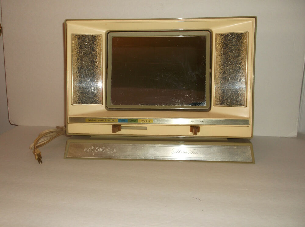 retro 70 39 s lighted make up mirror for all times sears ebay. Black Bedroom Furniture Sets. Home Design Ideas