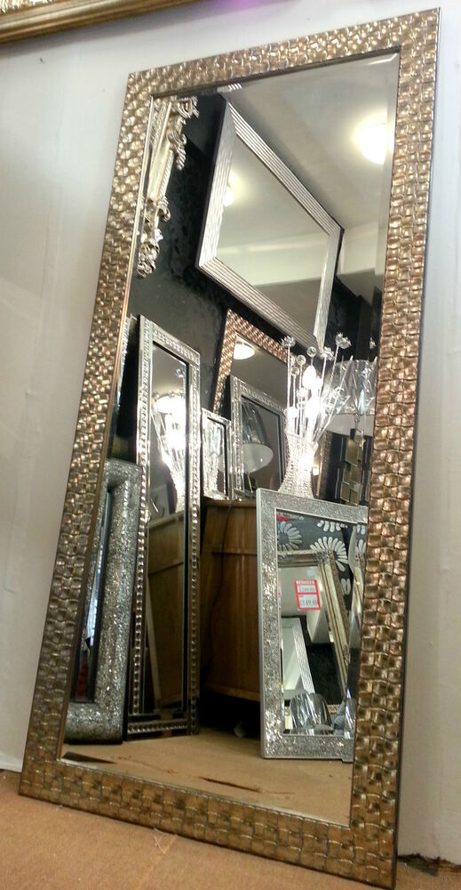 Large antique silver mosaic wood frame wall mirror for Large wall mirror wood frame