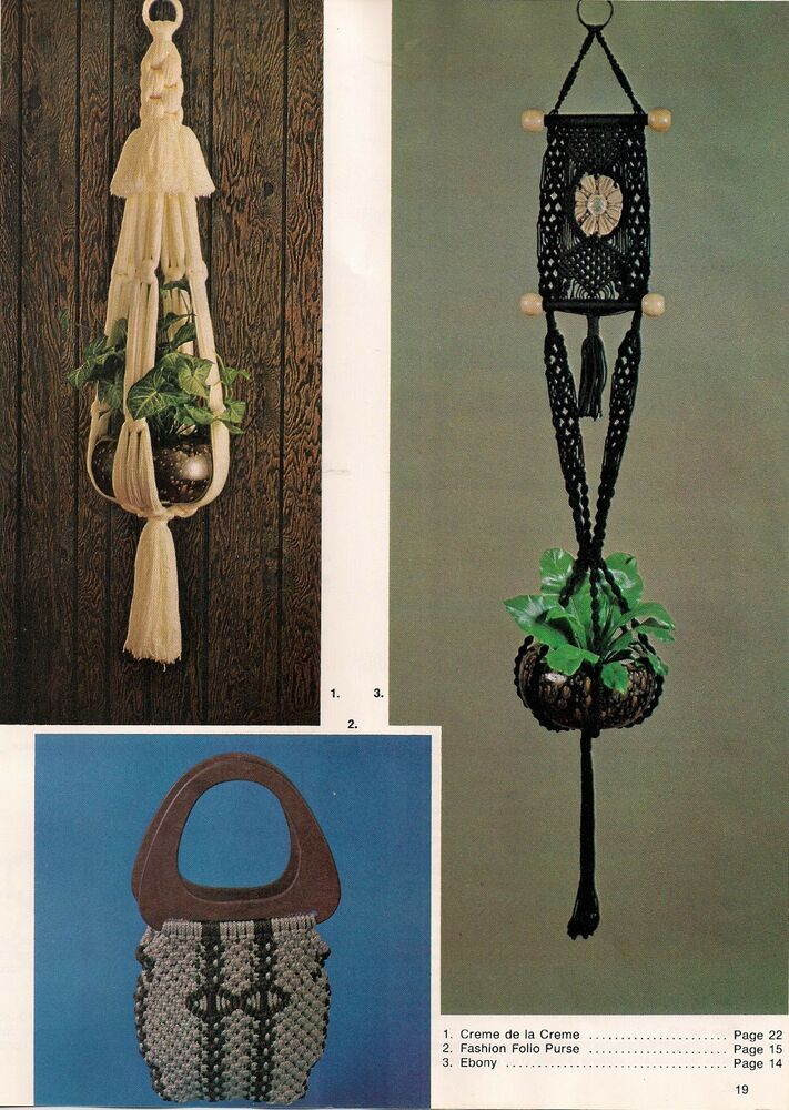 macrame plant hanger pattern free vintage purse plant hanger patterns craft book mm199 4094