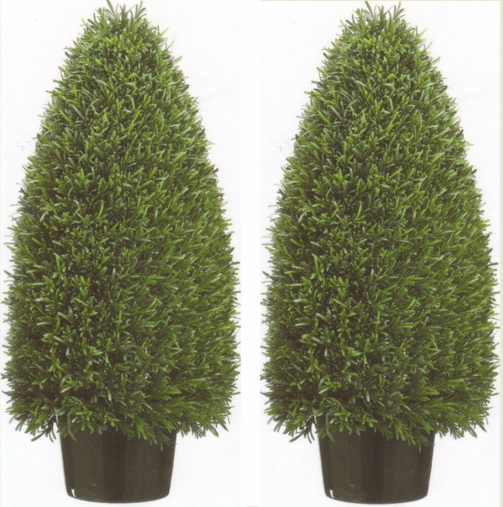 2 artificial 3 39 rosemary cone outdoor topiary bush 36 for Outdoor bushes and plants