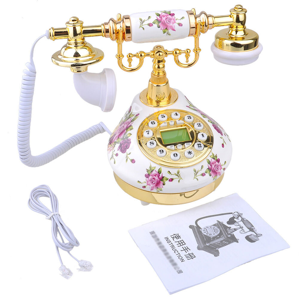 Http Www Ebay Com Itm Retro Vintage Antique Style Floral Ceramic Home Decor Desk Telephone Phone 111698817636