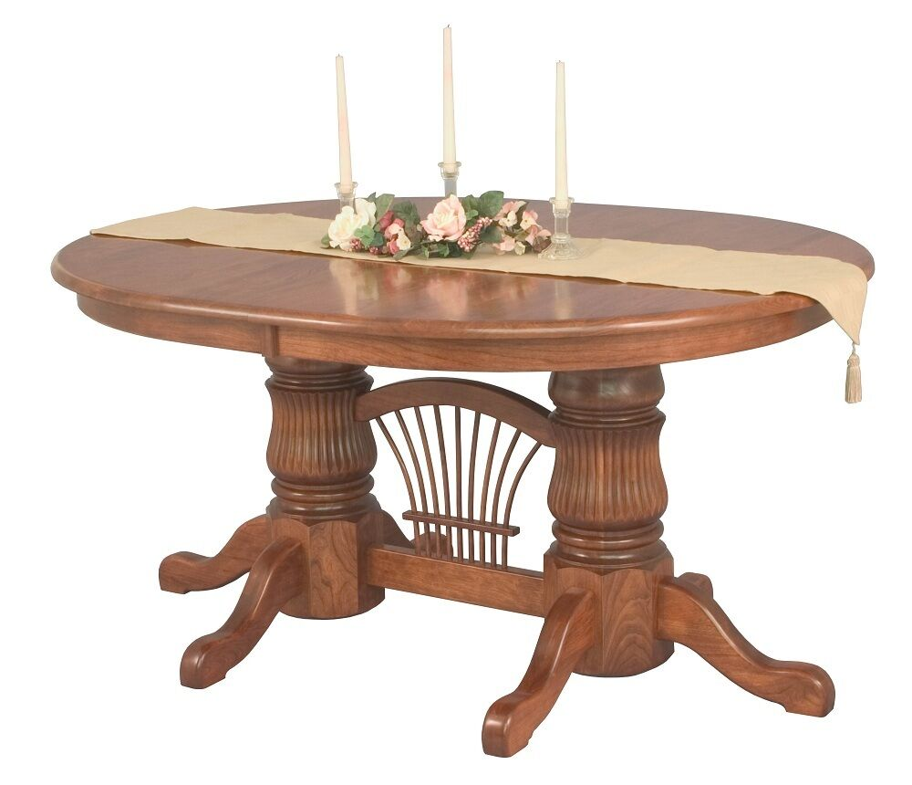 Amish double pedestal dining table extending leaf solid for Solid oak dining table