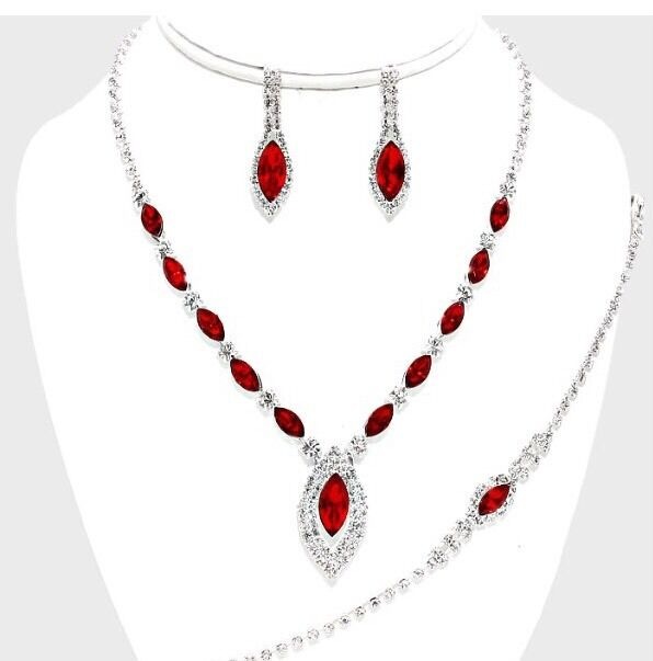 red silver crystal rhinestone formal necklace jewelry
