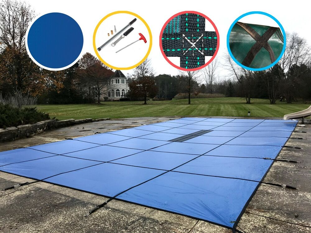 Water Warden Solid Safety Pool Cover W Drain Blue Green