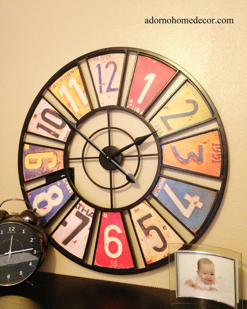 Large Metal License Plate Wall Clock Round Industrial