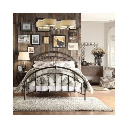 Queen Size Bed Arched Headboard Footboard Frame Antique Rustic