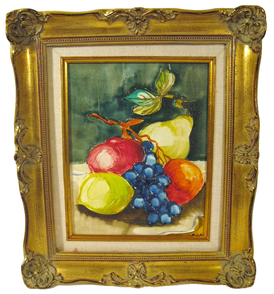 still life fruits oil painting framed in antique ornate gold gilded frame ebay. Black Bedroom Furniture Sets. Home Design Ideas