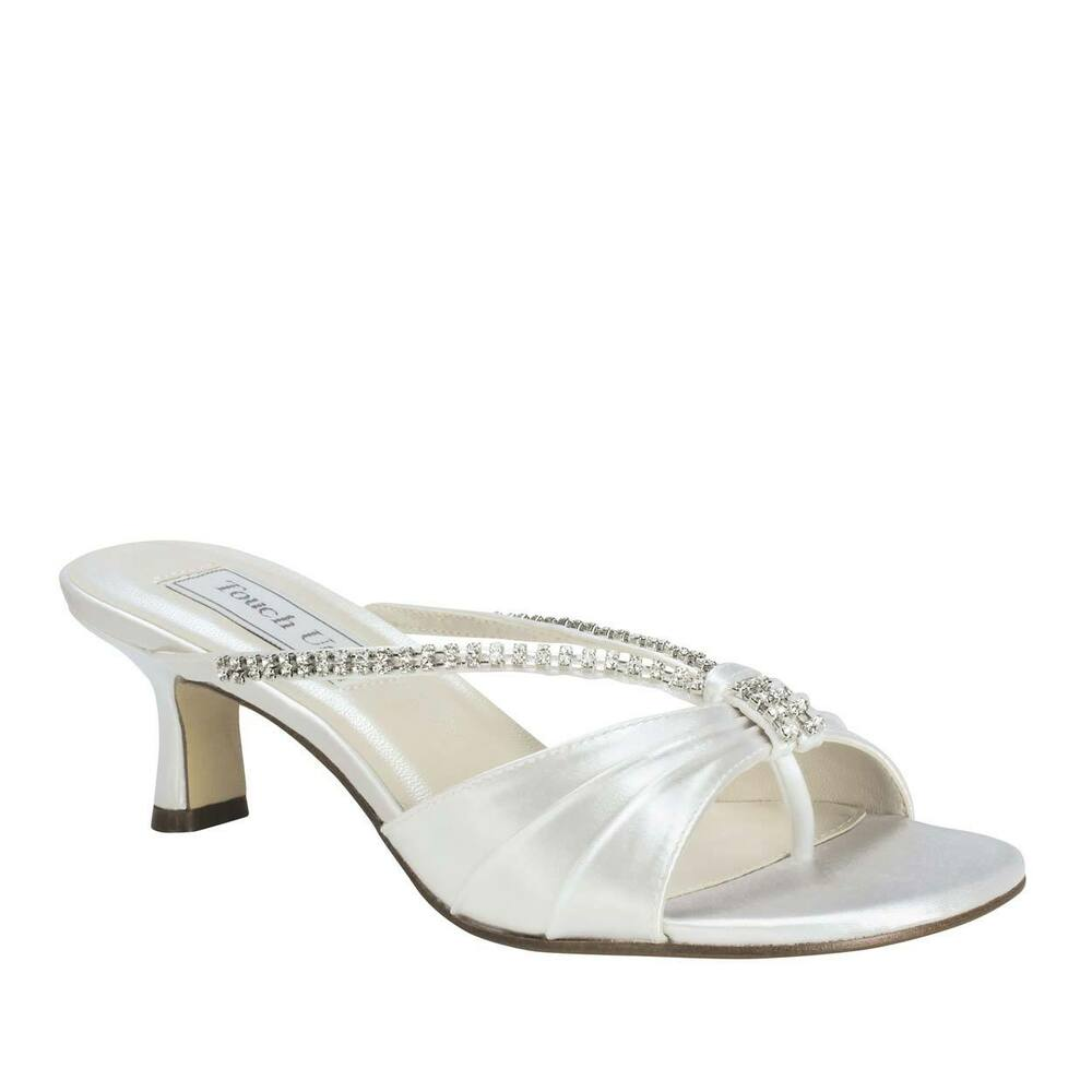 wide width bridal wedding white satin jewel low heel sexy