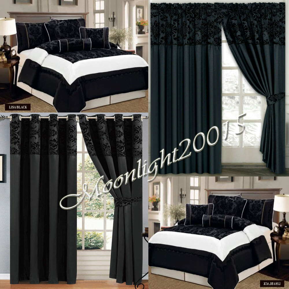 Flock 7 Piece (Black) Flock Quilted Comforter Set