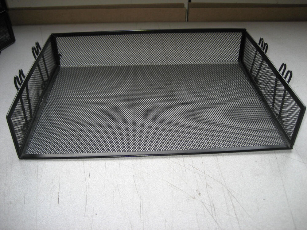set of 2 wire mesh in out baskets desk tray letter size With letter size wire baskets