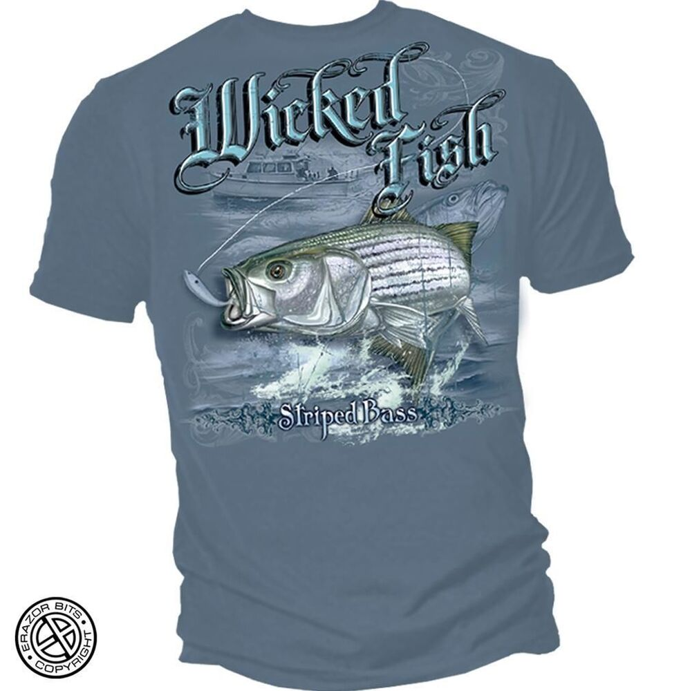 New striped bass t shirt fishing shirt ebay for Bass fishing shirt