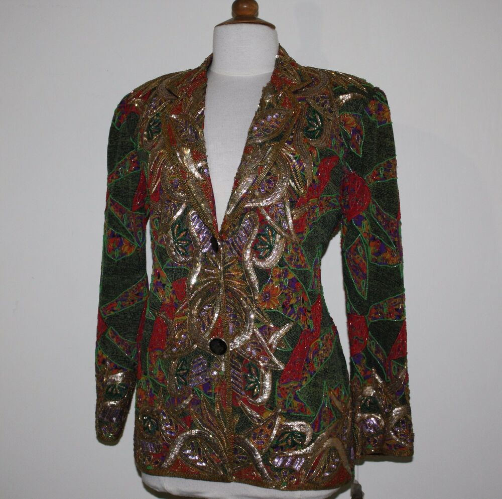 jasdee vintage blazer jacket hand work beads amp sequins on silk style