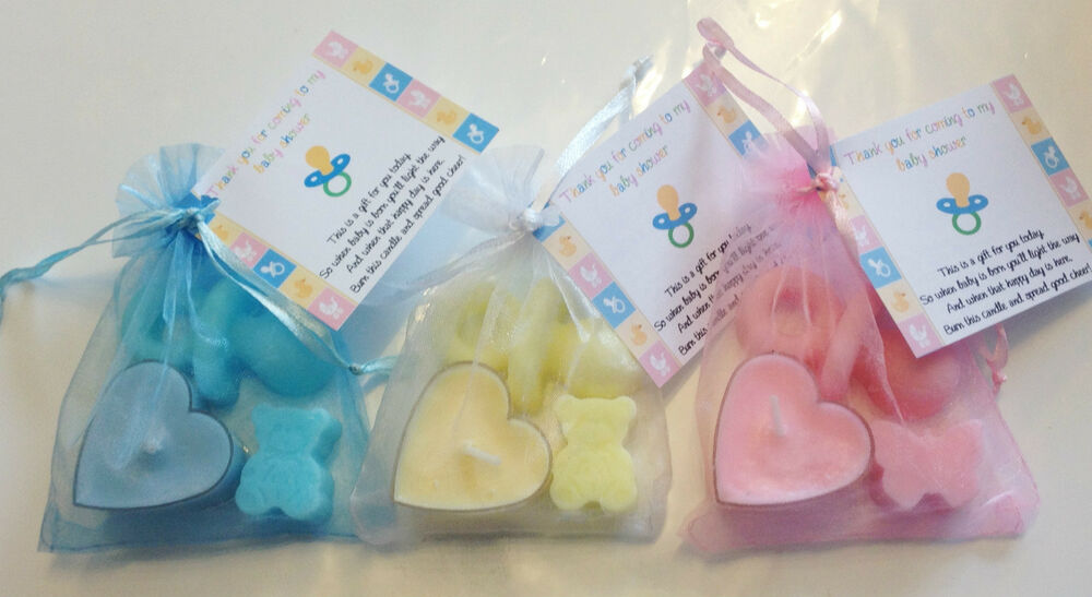 baby shower soap candle favours blue pink yellow girl boy unisex