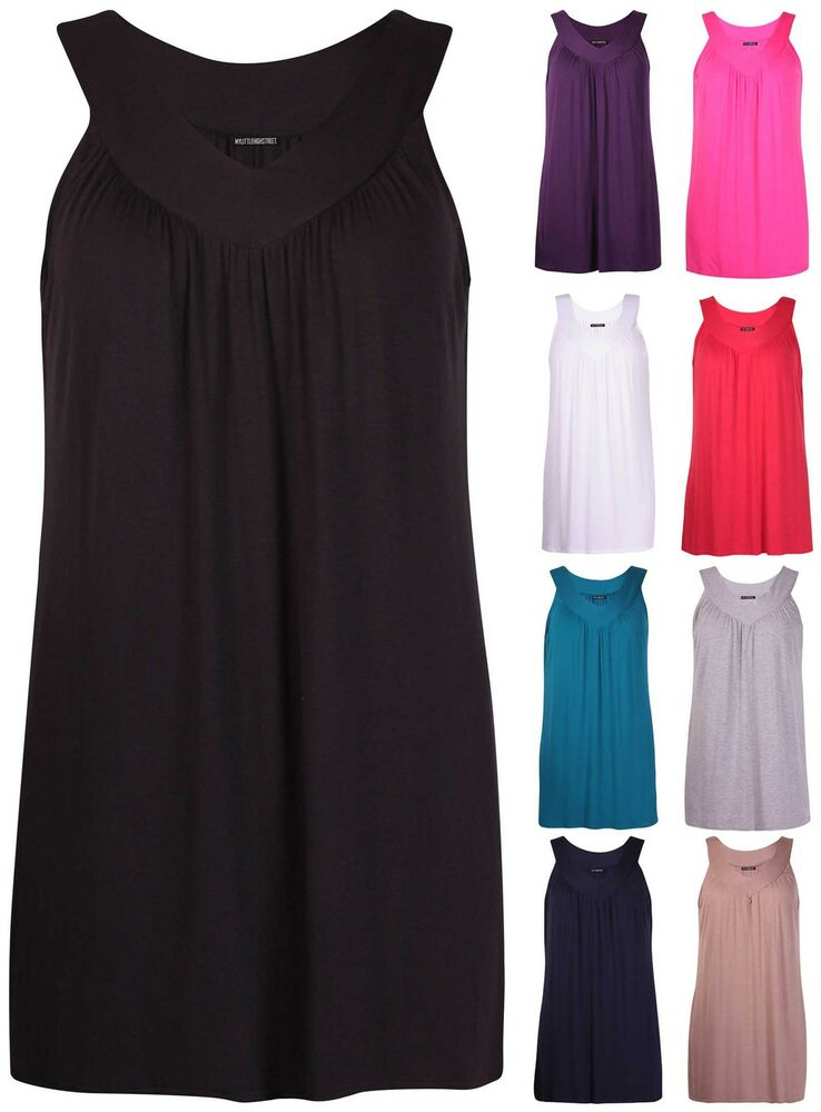 Womens plus size v neck ladies sleeveless ruched gathered for Sleeveless shirts for ladies