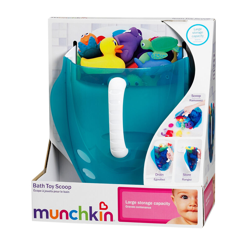 munchkin scoop baby bath toy drain and store storage bathtime organiser blue ebay. Black Bedroom Furniture Sets. Home Design Ideas