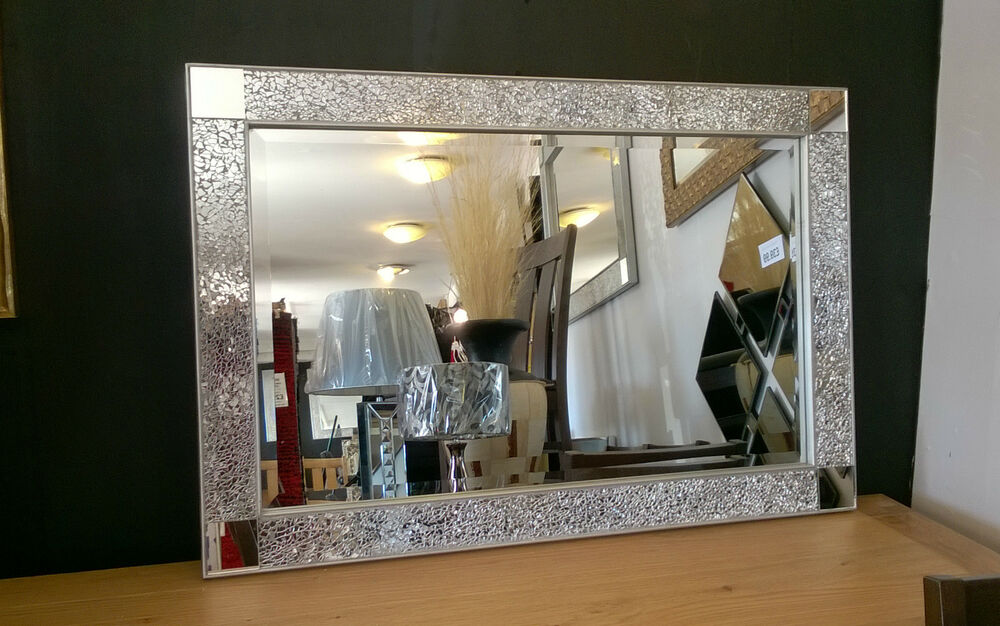 Silver Mirror Wall Photo Frame: Crackle Design Wall Mirror Bevelled Silver Frame Mosaic