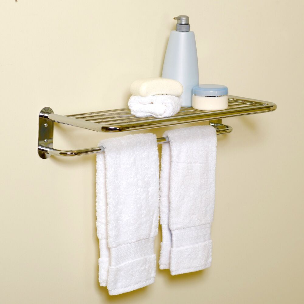 Hotel bathroom wall mounted towel holder storage shelf for Bathroom towel storage