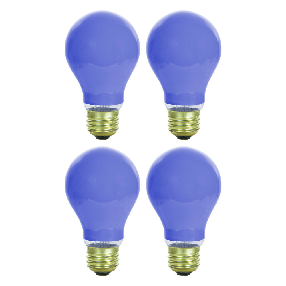4 pack 60 watt a19 ceramic blue incandescent medium base. Black Bedroom Furniture Sets. Home Design Ideas