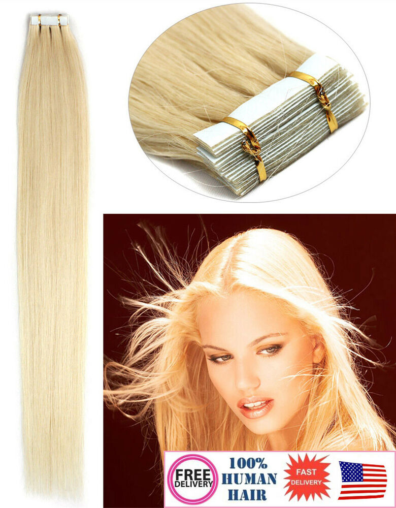 Remy Human Hair Extensions Seamless Tape In Skin Weft 60 Platinum