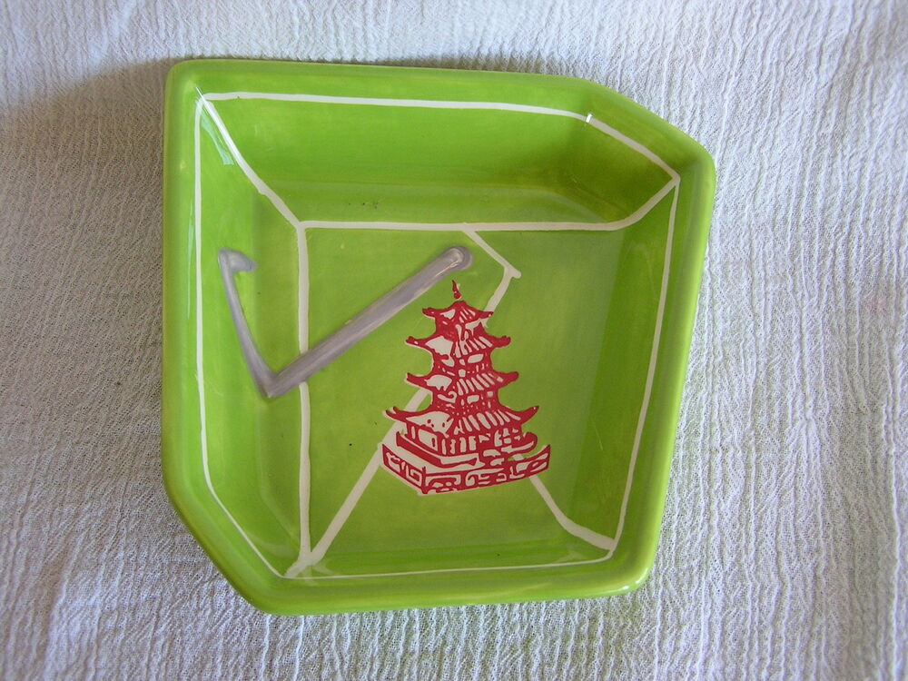Red Chinese Take Out Favor Boxes : Clay art chinese take out box lime green bowl salad sushi
