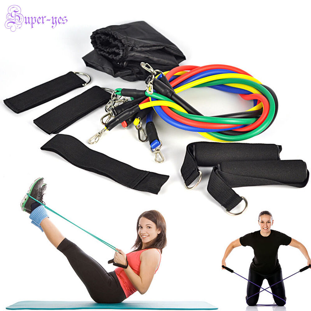 Resistance Band Set Yoga Pilates Abs Workout Exercise Tube