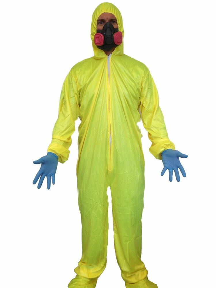 breaking chemist bad yellow hazmat suit costume fancy dress walter white mask ebay. Black Bedroom Furniture Sets. Home Design Ideas