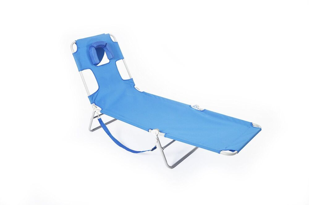 Ostrich Lounge Chaise Portable and Lightweight Adjustable Chair Back Blue