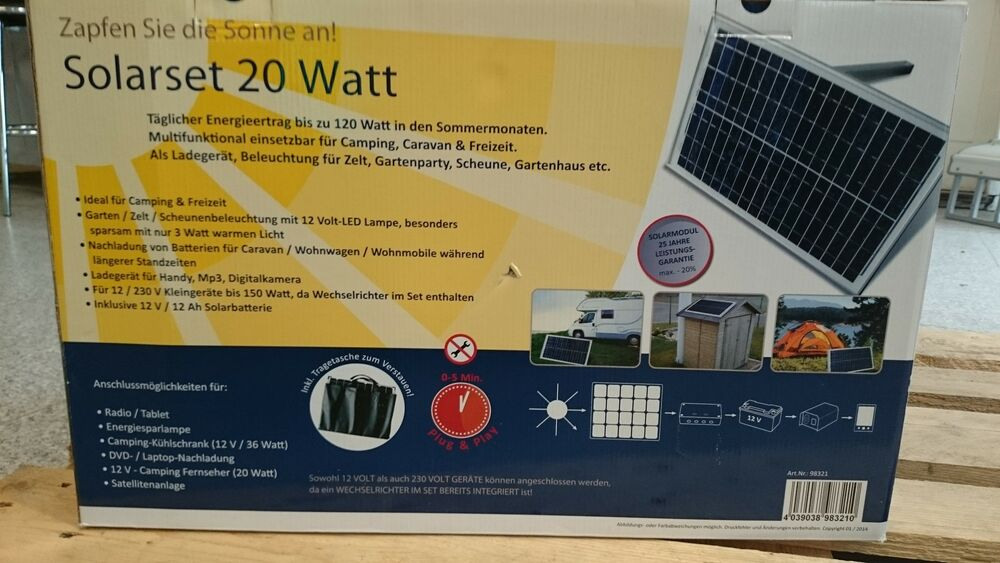 mobile solaranlage 20w komplett mit batterie wandler 12v. Black Bedroom Furniture Sets. Home Design Ideas