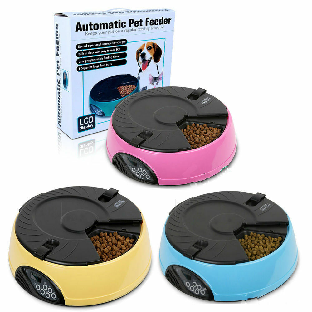6 meals timed lcd digital automatic pet feeder auto 87492
