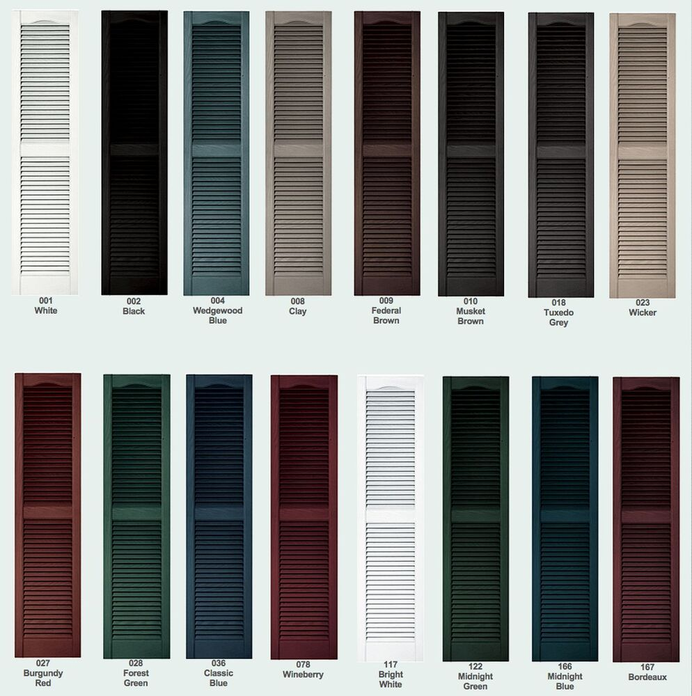 Color samples for raised panel louver board n batten - Exterior louvered window shutters ...