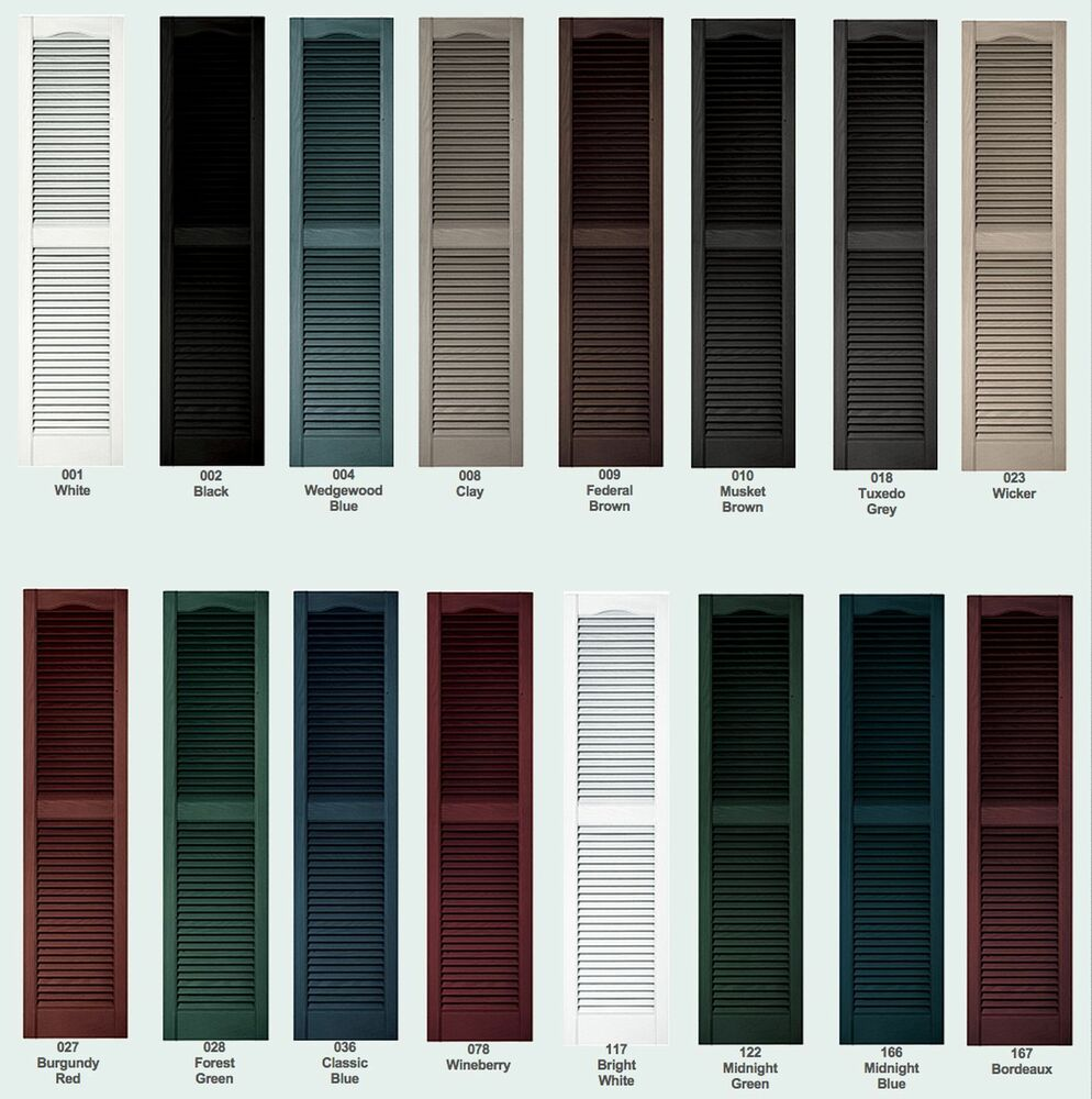 Color samples for raised panel louver board n batten exterior vinyl shutters ebay for Exterior louvered window shutters