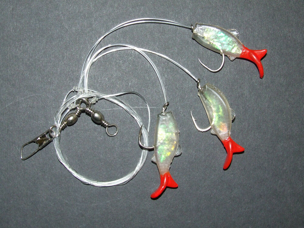 Super fish shad rig lure 3 x 2 0 hooks boat pier bass cod for Best hooks for bass fishing