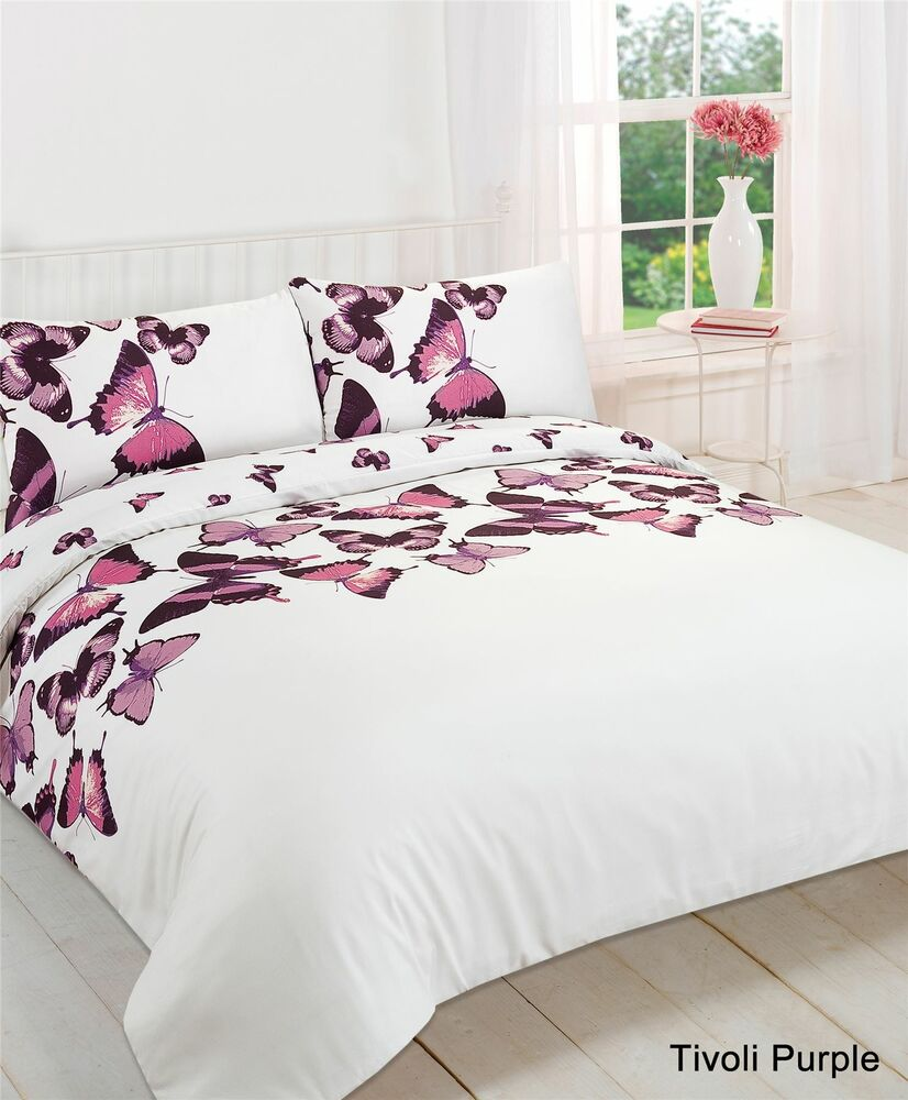 Duvet Cover With Pillow Case Bedding Set Butterfly Purple