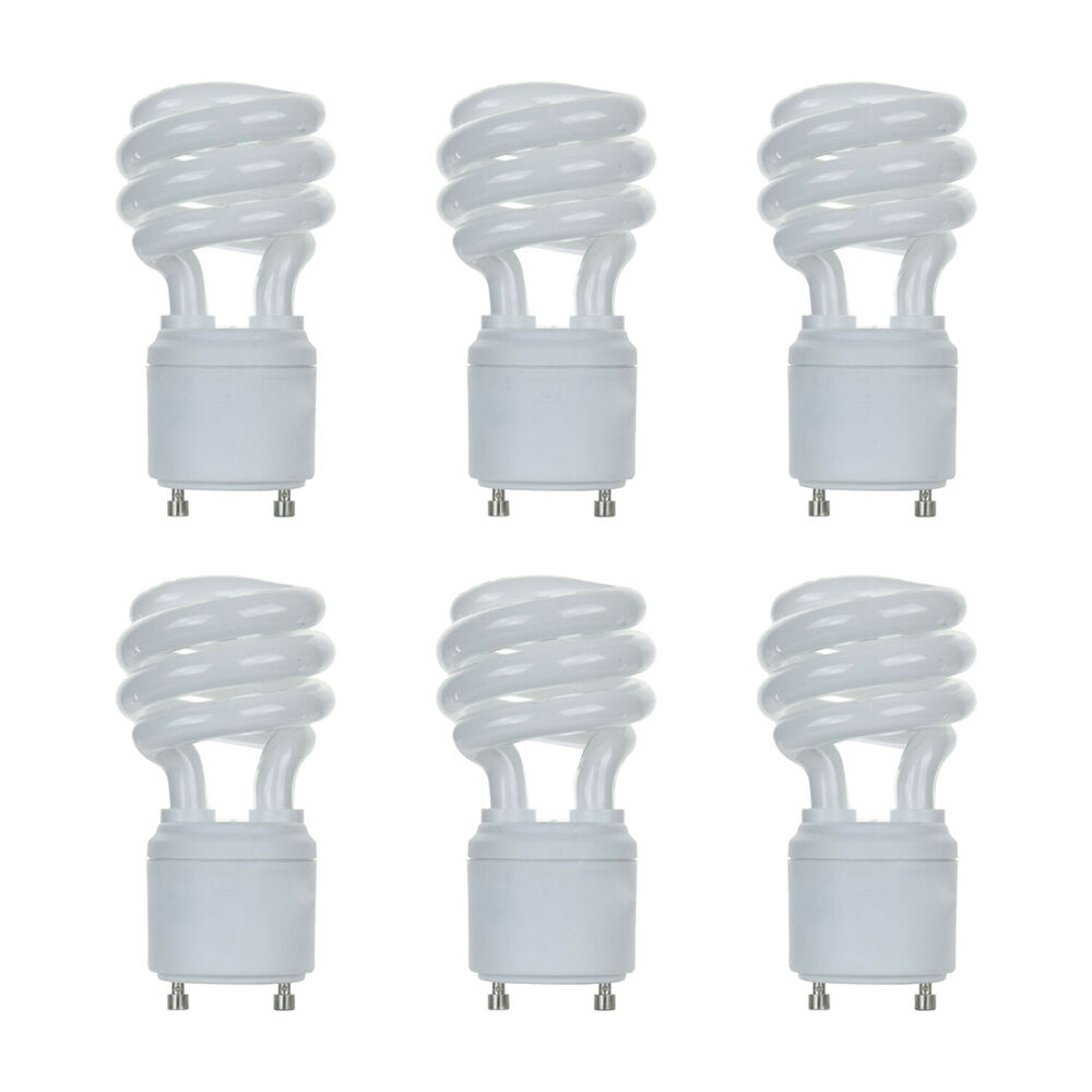 New 13w Cfl Mini Spiral Gu24 Base 4100k Cool White 60w Fluorescent Light Bulb 6 Ebay