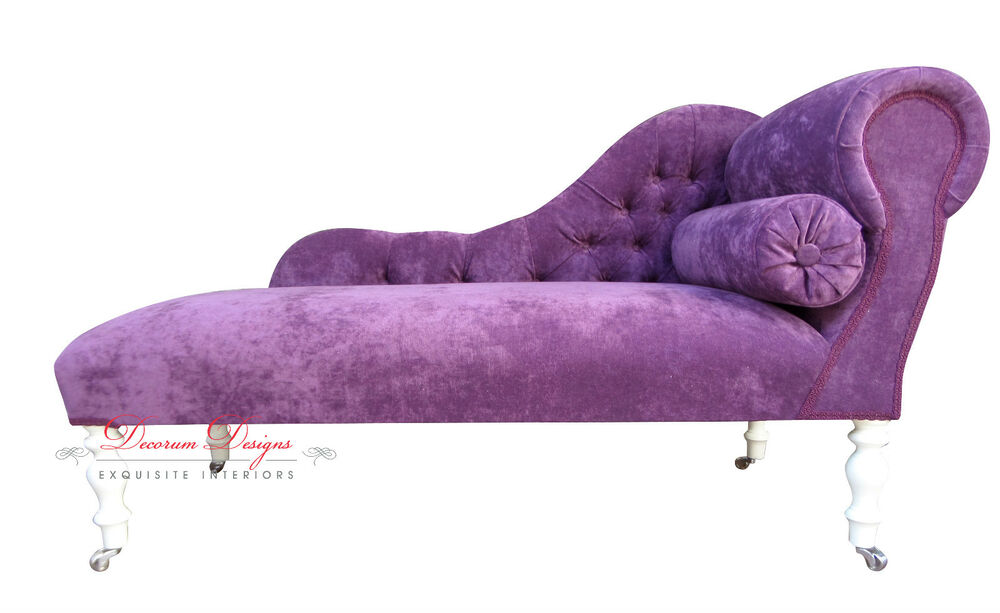 Beautiful bespoke deep purple velvet chaise longue hand for Bespoke chaise longue