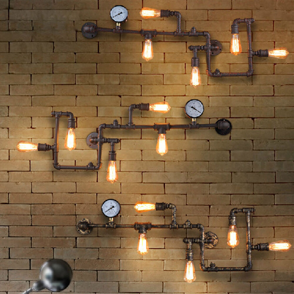 Wall Lamps Industrial : Vintage Loft Industrial Steampunk Wall Lamp Retro Light Rustic Pipe Lighting eBay