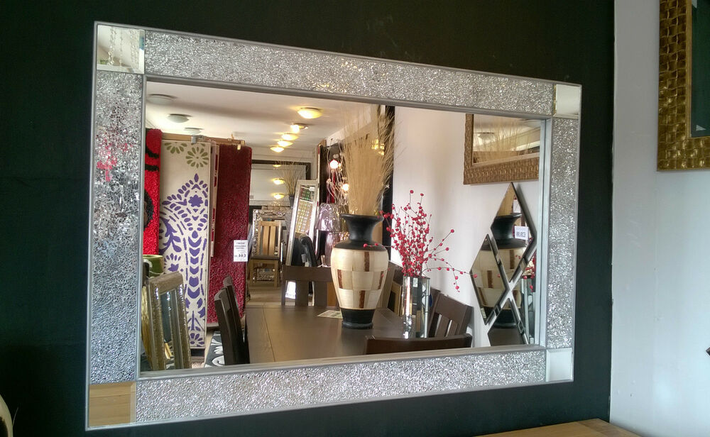 Silver Mirror Wall Photo Frame: Crackle Design Wall Mirror Silver Chunky Frame Mosaic